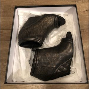 Chanel Lambskin Open Toe Quilted Wedge Boots